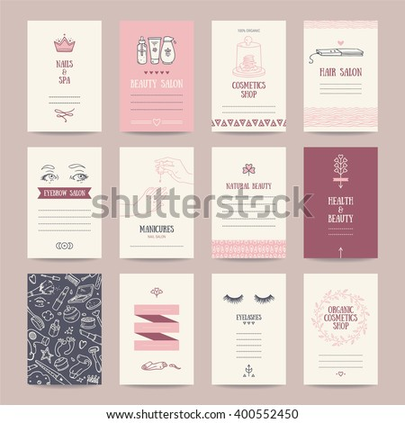Cosmetics shop business cards, beauty parlor invitations, nail salon flyer, spa banner. Artistic templates collection with thin line symbols and hand drawn design elements. Isolated vector. - stock vector