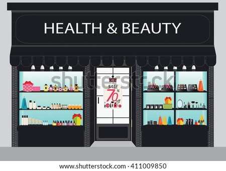 Cosmetics store building and interior with products on shelves, shopping,  beauty shop, cosmetic products,  beauty salon shopping, health and beauty vector illustration. - stock vector