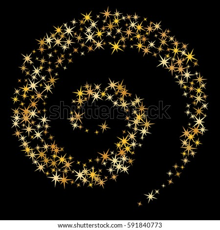 Cosmic abstract vector background with gold star twisted pattern. Glitter confetti, magic shining sparkles design. Decorative helix on black with golden night sky objects. Starlight spiral, curl, spin