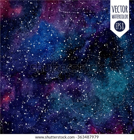 cosmic background colorful vector watercolor galaxy stock vector