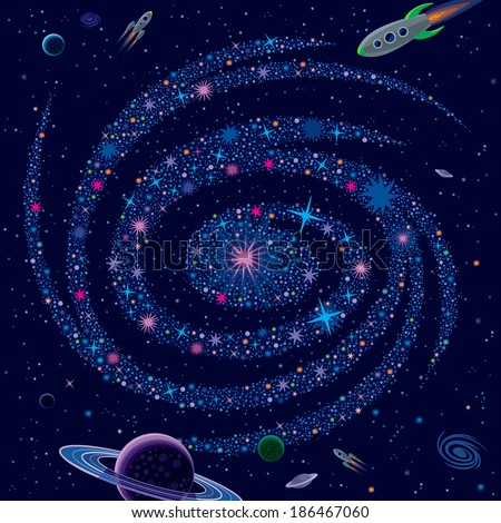 Cosmic Background Galaxy And Spaceships - stock vector