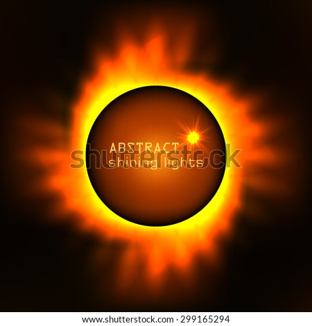Cosmic background with orange planet and shining sun - stock vector
