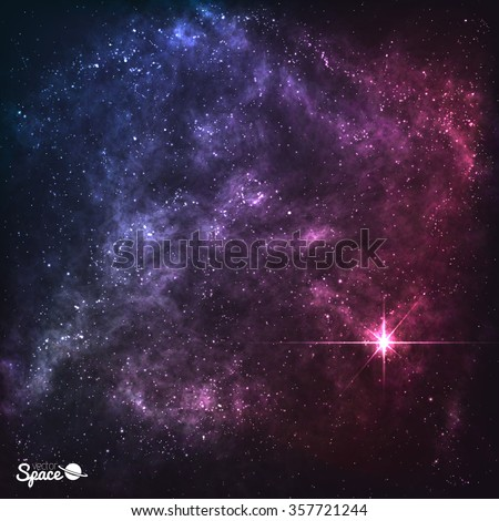 Cosmic Galaxy Background with nebula, stardust and bright shining stars. Vector illustration for your design, artworks - stock vector