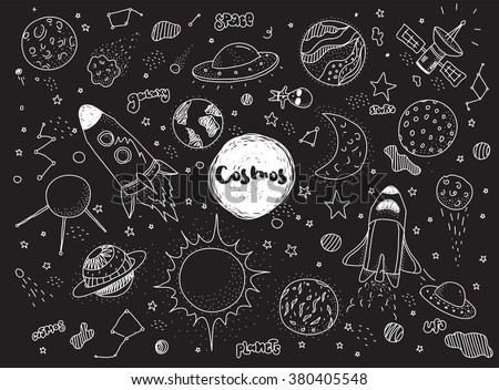 Cosmic objects set. Hand drawn vector doodles. Rockets planets constellations ufo stars satellite, etc. Space collection. Black and white.  Hipster style - stock vector