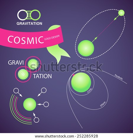 Cosmic, Physics Logo Set. Vector Illustration - stock vector