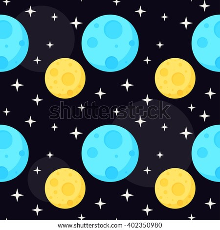 Cosmic seamless pattern background. Blue and yellow colored planets in open space.  - stock vector