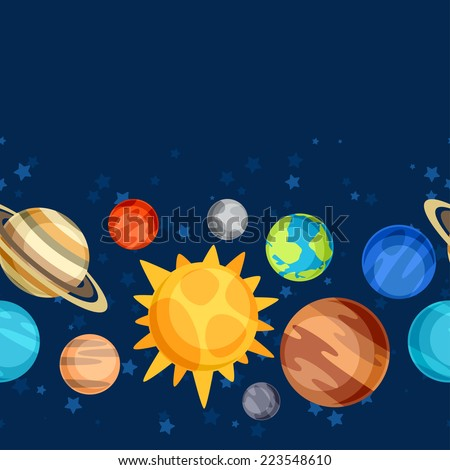 Cosmic seamless pattern with planets of the solar system. - stock vector