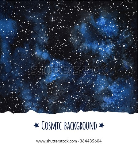Cosmic watercolor vector background with uneven edge. Galaxy or night sky with stars border. Hand drawn universe template. Splash texture with black and blue watercolour stains. - stock vector