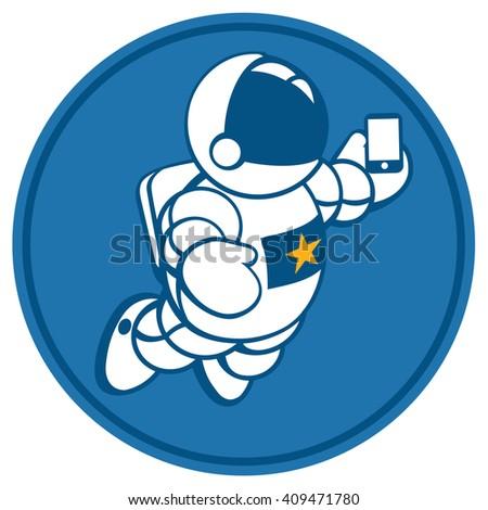 cosmonaut with smartphone in hand - stock vector