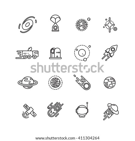 Cosmos, astronomy and astrology space line vector icons. Astronomy icon, space astronomy universe, astronomy galaxy illustration - stock vector