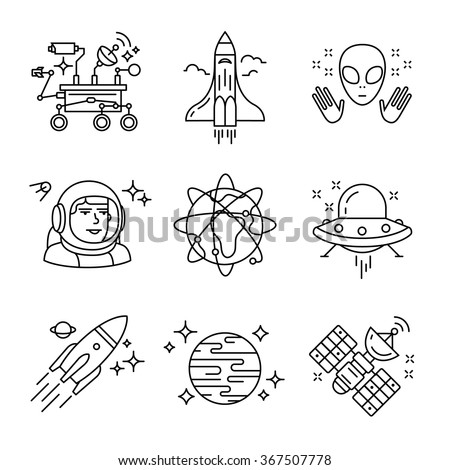 Cosmos exploration sings set. Planets, rockets, lander, satellites and astronaut in helmet. Oh, forgot about alien and his ship. Thin line art icons. Linear style illustrations isolated on white. - stock vector