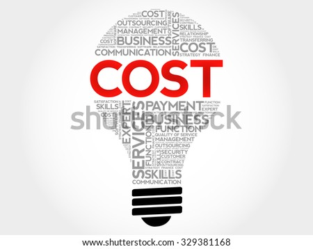 Cost bulb word cloud, business concept - stock vector