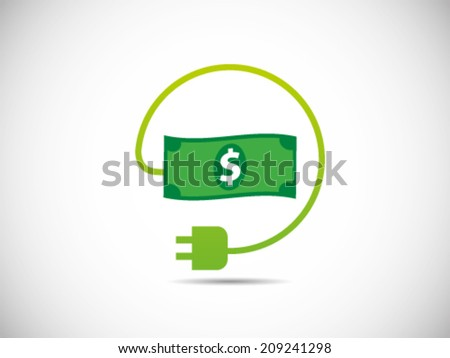 Cost Dollar Power Efficiency - stock vector