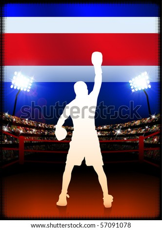 Costa Rica Flag with Boxer on Stadium Background Original Illustration - stock vector