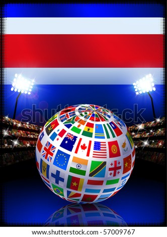 Costa Rica Flag with Globe on Stadium Background Original Illustration