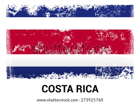 Costa Rica grunge flag isolated vector in official colors and Proportion Correctly. country's name label in bottom - stock vector