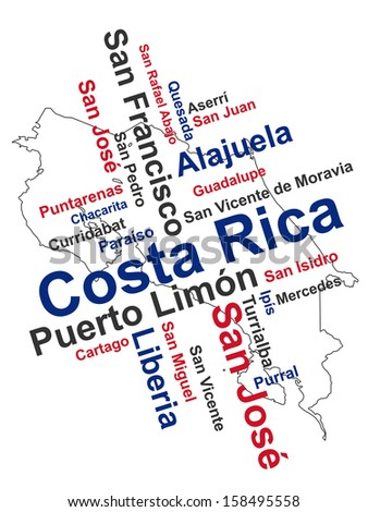 Costa Rica map and words cloud with larger cities - stock vector