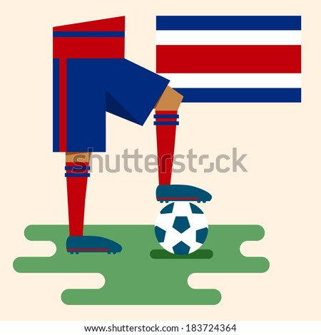 Costa Rica, national soccer uniform and flag, flat design - stock vector