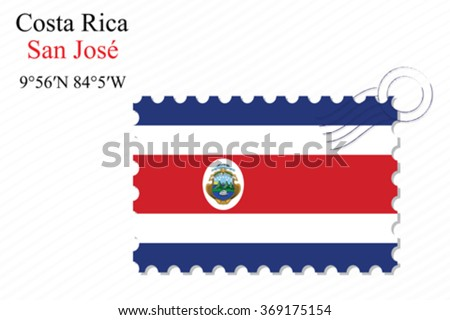 costa rica stamp design over stripy background, abstract vector art illustration, image contains transparency