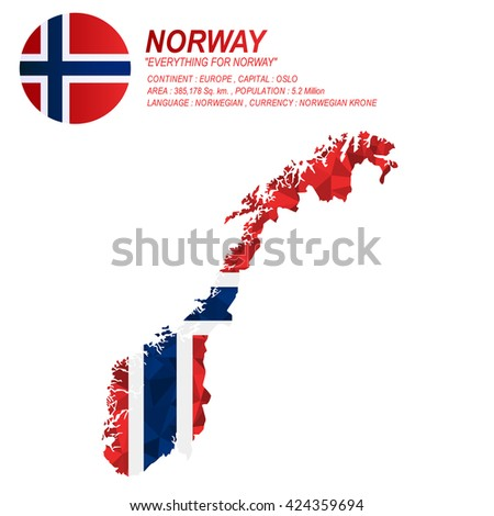 Norway Map Vector Norway Flag Vector Stock Vector - Norway language map