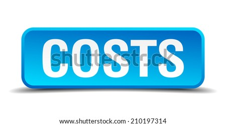 costs blue 3d realistic square isolated button - stock vector