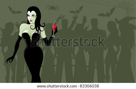 Costume Party A beautiful woman dressed as a vampire stands out at a Halloween party. Grouped for easy editing. Vector file.