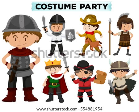 Costume party with boys in different costumes illustration