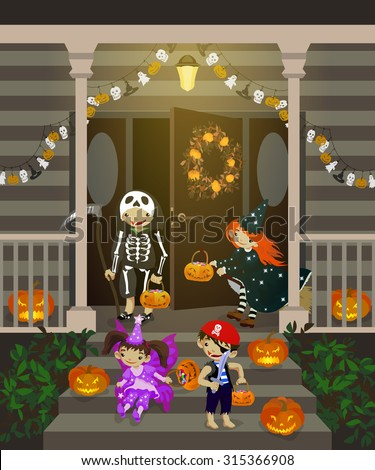 Costumed kids dressed up for trIck or treat, stand at the stairs. Halloween decorated front door and porch with pumpkins and wreath. Vector illustration. - stock vector