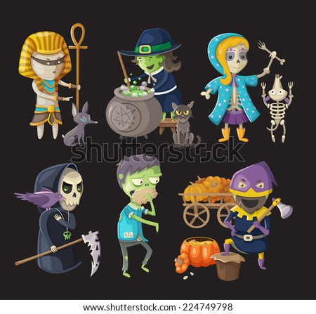 Costumes and traditional halloween characters - stock vector