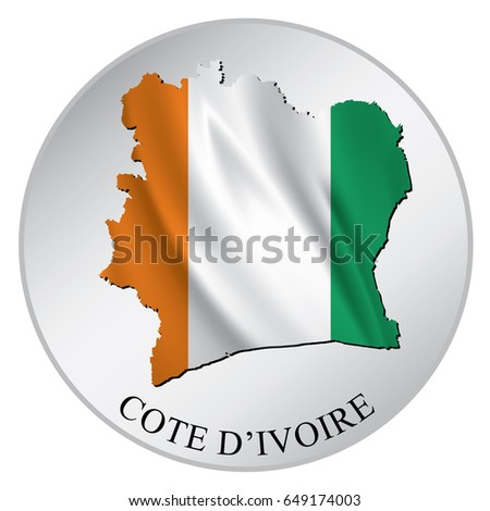 Cote divoire vector sticker with flag and map label round tag with
