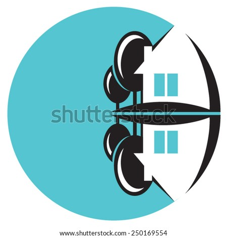 Cottage by the lake. Sign. logo element. Small house and two trees near the water. Circle. - stock vector