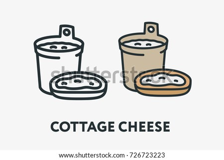 Cottage Cheese Container And Sandwich Dairy Milk Minimal Flat Line Outline Colorful Stroke Icon Pictogram