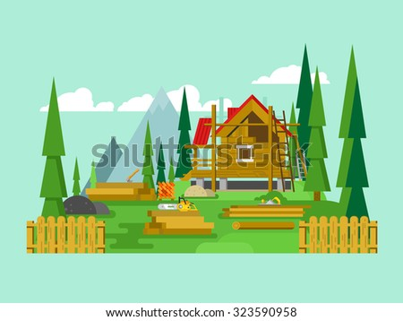Cottage construction. Timber and tool, material wood, building house, flat vector illustration - stock vector