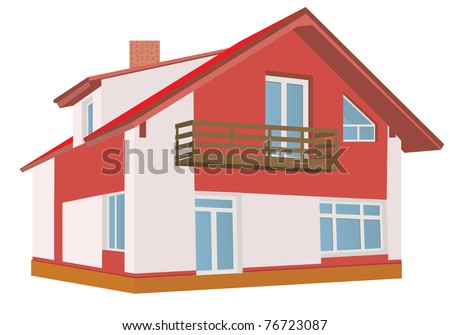 Cottage (Detailed). Vector illustration - stock vector