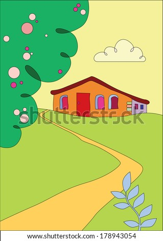 cottage on the outskirts - stock vector