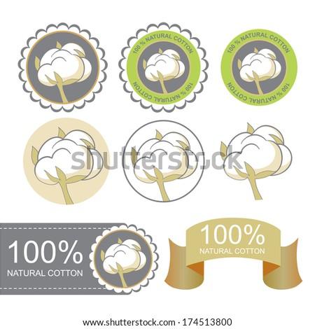 Cotton emblems set. Natural cotton symbols - stock vector