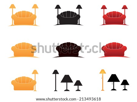 couch and lamps icon vector - stock vector