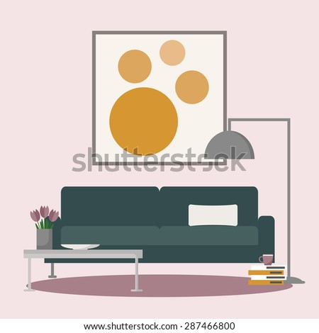 Couch in the living room interior. Big sofa in the room with coffee table, lamp and paint on the wall. Flat style vector illustration.  - stock vector