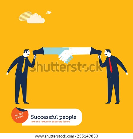 Couches with megaphones shaking hands. Vector illustration Eps10 file. Global colors. Text and Texture in separate layers. - stock vector