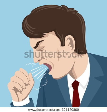 Coughing man vector illustration. Sick person, ill and cold, flu and virus, influenza concept - stock vector