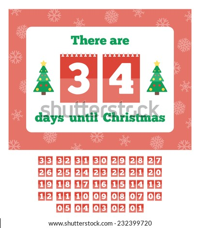 Countdown calendar. Waiting for Christmas. Vector illustration in flat style - stock vector