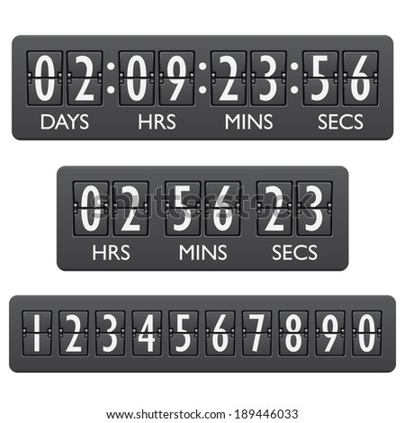 Countdown clock timer mechanical digits board panel indicator emblem vector illustration