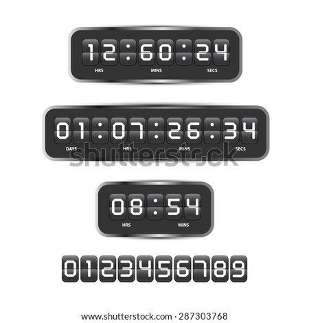 Countdown timer analog display mechanical time indicator for design vector