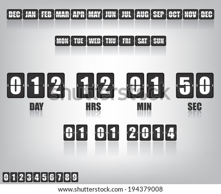 Countdown Timer and Date - stock vector