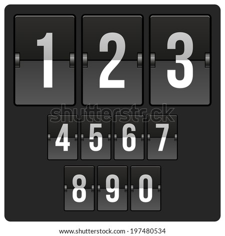 Countdown Timer and Date scoreboard with different numbers - stock vector