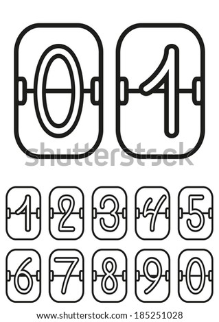 Countdown timer, scoreboard with hand drawing digits, hand drawing numbers, vector illustration - stock vector