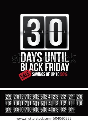 Countdown to Black Friday sale flip numbers template with numbers 01 through 30. EPS 10 vector.