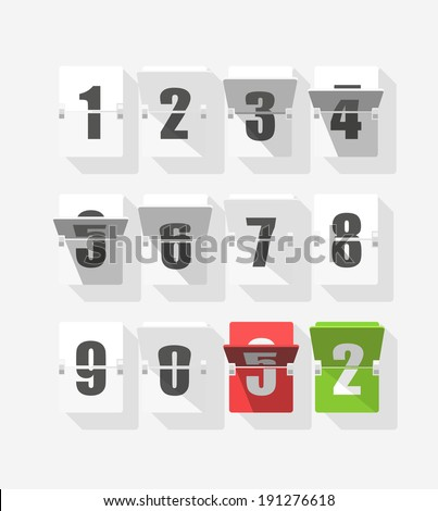 Counter with digits set. Flat design - stock vector