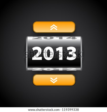 Counter 2013 year - Black with pointers - stock vector