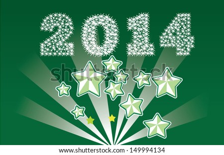 counter 2014 year explosion background with many stars - stock vector